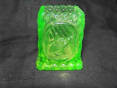 Green Vaseline  West Virginia  Toothpick Holder- Match Holder     (( Id197531 ))