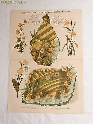 ANTIQUE 1889 EMBROIDERY FLORAL PATTERN DESIGNS for Watch Pocket & Toilet Cushion