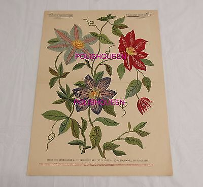 ANTIQUE 1882 NEEDLEWORK EMBROIDERY FLORAL DESIGN for ANTIMACASSAR or SCREEN