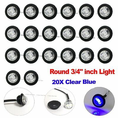 """20X 3/4"""" Bullet Clear Blue Round Clearance Side Marker Truck Trailer LED Light"""
