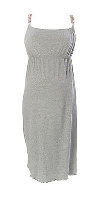 9FASHION Maternity Women's Lisa Grey Nursing Gown Sz S $80 NEW