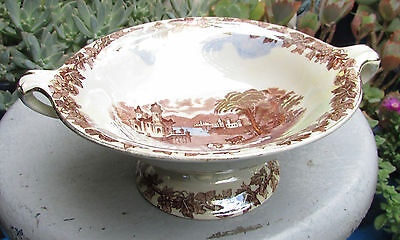 Beautiful Vintage Maling Lustre Ware Comport Country Scene