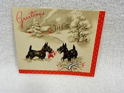 Scotty Scottie Dog  Holding Package iin The Snow With Red Edge   Christmas Card