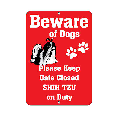 SHIH TZU DOG Beware of Fun Novelty METAL Sign