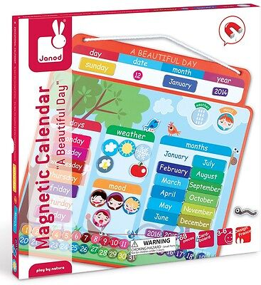 Janod MAGNETIC CALENDAR BEAUTIFUL DAY Child/Kids Educational Activity Toy BN