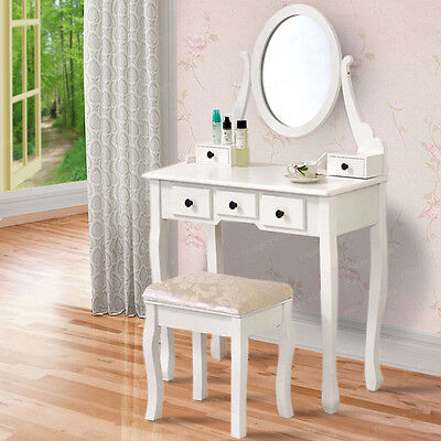 MDF White Vintage Dressing Table with 4 Drawers, Mirror + Stool Set Bedroom Desk