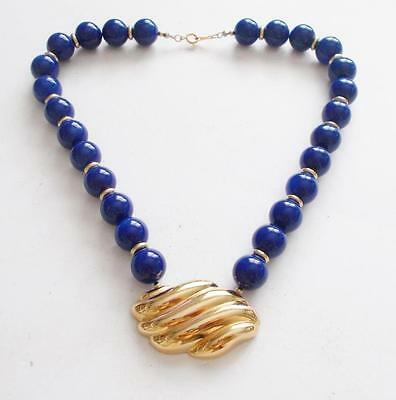 Vintage 1980's Avon Chunky Blue Lucite Beads Gold Tone Statement Necklace