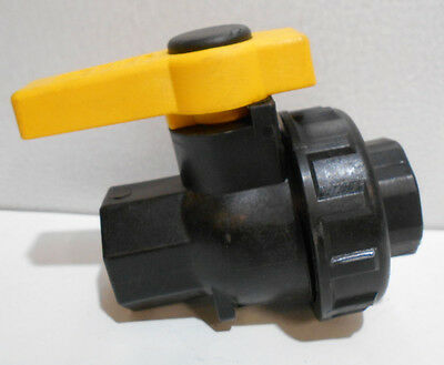 "Banjo SUV075FP Polypropylene Ball Valve, Single Union, Full Port, 3/4"" NPT"