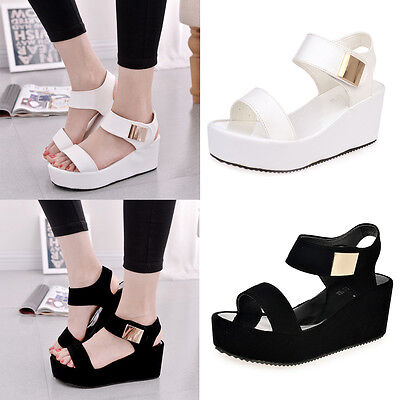 Women Wedges Middle Heel Summer Platform Sandals Open Toe Chunky Casual Shoes