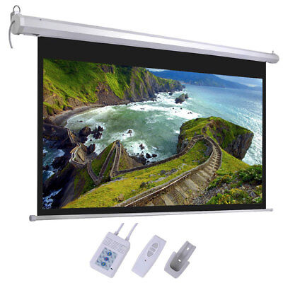 "100"" Projector Screen 16:9 Projection HD Home Theater Electric Motorized + Remot"