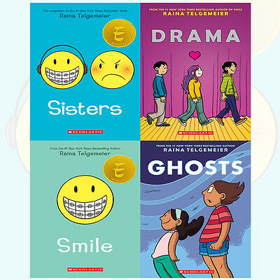 Raina Telgemeier Collection Sisters 4 Books Set Drama,Smile,Ghosts NEW Paperback