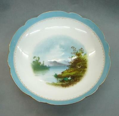 Antique Hand Painted Bowl Blue Border scenic England