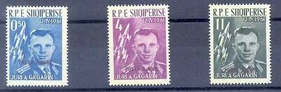 1962 ALBANIA. THE VERY RARE GAGARINE AIR Ovpt SPACE SET