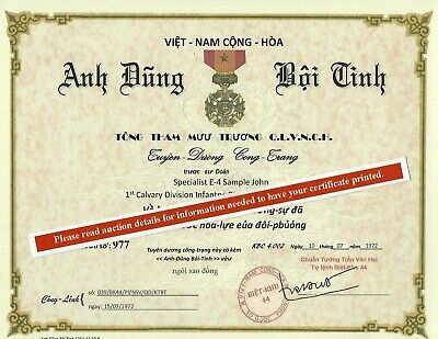 Vietnam RVN ARVN Gallantry Cross with Bronze Star Replacement Certificate