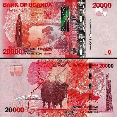 Uganda 20000 20,000 Shillings 2013 Unc 2 Pcs Consecutive Pair P.53