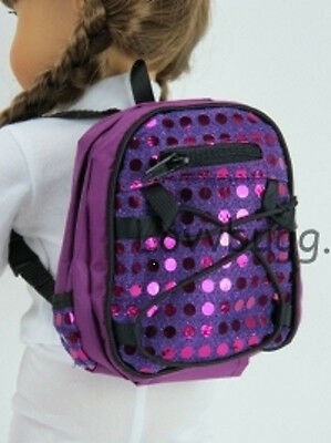 Purple Sequin Backpack for 18 inch Doll Accessory American Girl Most Variety