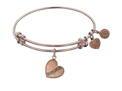 Angelica Antique Pink Stipple Finish Brass daughter Heart Expandable Bangle...