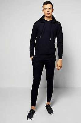 Boohoo Mens Skinny Fit Ribbed Over the Head Tracksuit in Navy size L