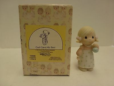Precious Moments - 1985 - GOD GAVE HIS BEST - Girl w Christmas Ornament - 15806