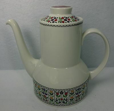 "ROYAL DOULTON china FIREGLOW TC1080 pattern Coffee Pot & Lid - 6-3/4"" 4 cups"
