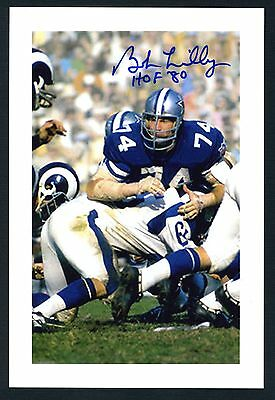 Bob Lilly member of College & Pro Football Hall of Fames Signed 4x6 Photo K7920