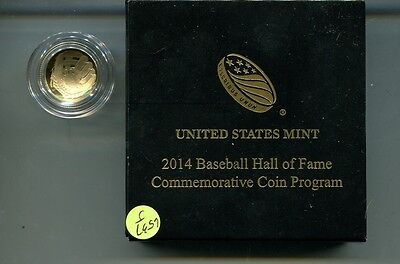2014 W Baseball Hall Of Fame $5 Gold Proof Coin Original Box