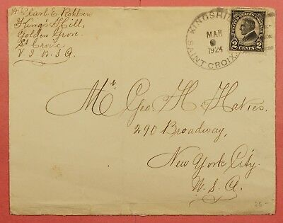 #610 Harding Used In Virgin Islands On 1924 Cover Kingshill St Croix To Ny