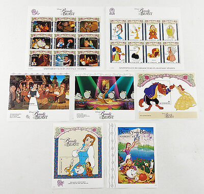 Lot of (7) 1992 Disney's Beauty and the Beast St. Vincent Stamp Sheets