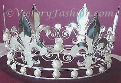 #310 King's or Queen's Royal Crown - Silver-tone metal and white faux pearls