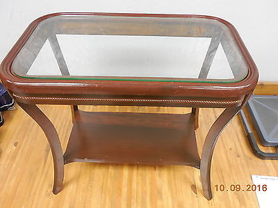 Vintage Glass Top Rectangular Coffee End Table  #
