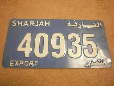 Sharjah Arabic Later Export Type White On Blue # 40935 Rare License Plate