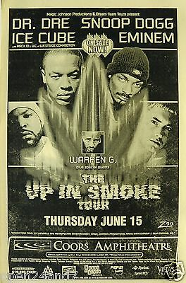 """Dr. Dre/ Eminem / Snoop Dogg / Ice Cube """"up In Smoke Tour"""" 2000 San Diego Poster"""