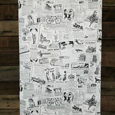 Classic Vintage Black and White Ads Designer Chic Traditional Wallpaper Diy