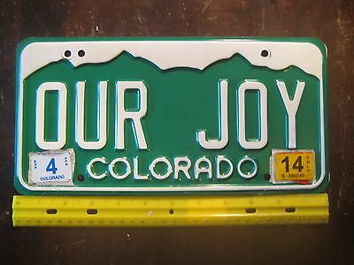 License Plate, Colorado, Great Personalized Vanity: OUR JOY