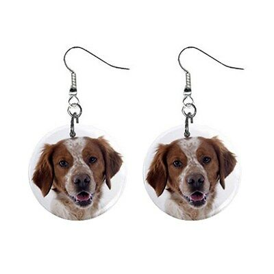 New Cute Funny BRITTANY Face Dog Puppy Lovers Gift Dangle Metal EARRINGS Jewelry