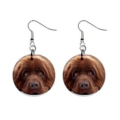 Cute Funny NEWFOUNDLAND Face Dog Puppy Lovers Gift Dangle Metal EARRINGS Jewelry