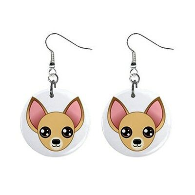 Cute Funny CHIHUAHUA Face Dog Puppy Lovers Gift Dangle Metal EARRINGS Jewelry