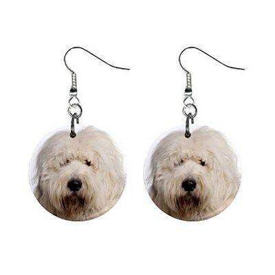 Cute Funny OLD ENGLISH SHEEPDOG Face Dog Puppy Lovers Gift Dangle Metal EARRINGS