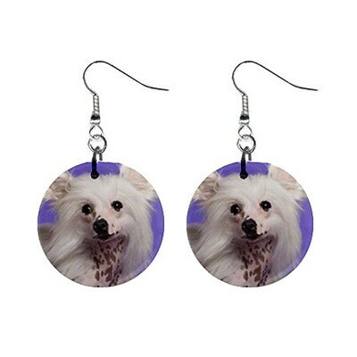 New Cute Funny CHINESE CRESTED Face Dog Puppy Lovers Gift Dangle Metal EARRINGS