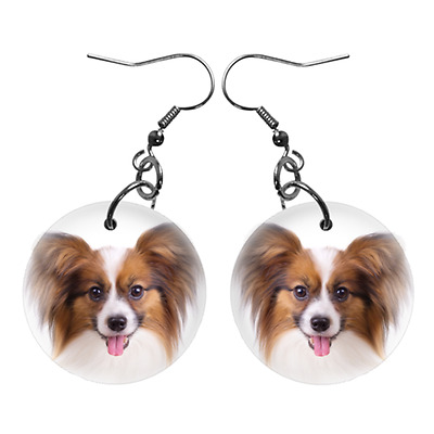 New Cute Funny PAPILLON Face Dog Puppy Lovers Gift Dangle Metal EARRINGS Jewelry