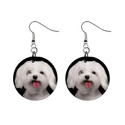 New Funny White MALTESE Face Dog Puppy Lovers Gift Dangle Metal EARRINGS Jewelry