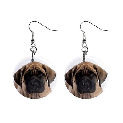 Cute ENGLISH MASTIFF Face Dog Puppy Lovers Gift Dangle Metal EARRINGS Jewelry