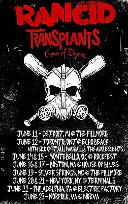 Rancid / Transplants / Crown Of Thornz 2013 North American Concert Tour Poster