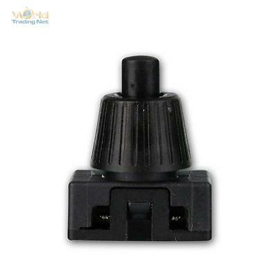 Set of 5 Press Button Black, 1-polig On/Off Switch, max. 230V/2A Switch