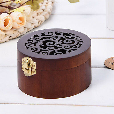 Antique Wood Miniature Hollow Music Mox Wind Up Retro Round Music Box Gift