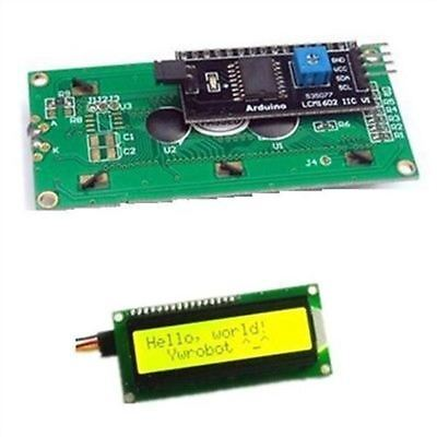 2Pcs Yellow Display Serial Interface 1602 16X2 Iic/I2c/Twi/Sp​​I Character Lcd F