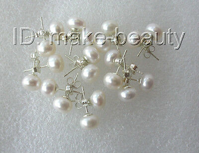 wholesale 10pair 8mm round white freshwater pearls loose earrings silver stud