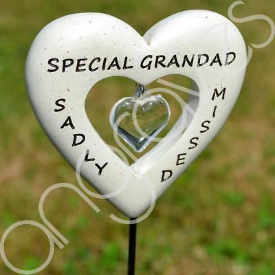 Sadly Missed Special Grandad Love Heart Memorial Tribute Stick Graveside Plaque