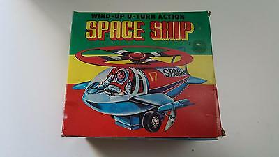 Vintage 1970's tin/plastic wind-up Space Ship Toy Mint in Box Made in Korea