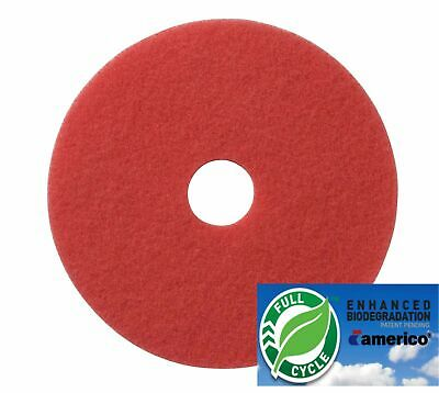 "19"" Red Floor Scrubbing Buffer Pads Box of 5, Daily Cleaning and Spray Buffing"